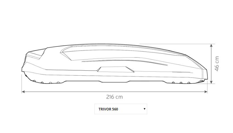 Strešný box Hapro Trivor 560 Supermatt Anthracite